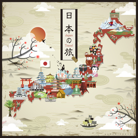 retro Japan travel map design - Japan travel in Japanese words