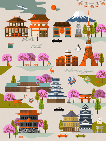 attractions: attractive Japan travel ad poster with sakura and attractions