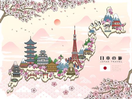 oriente: atractiva del cartel del viaje de Japón con sakura - Japan Travel en palabras japonesas Vectores