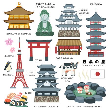 piękne Japonii elementami podróże kolekcja - Japan Travel w japońskich słów Ilustracje wektorowe