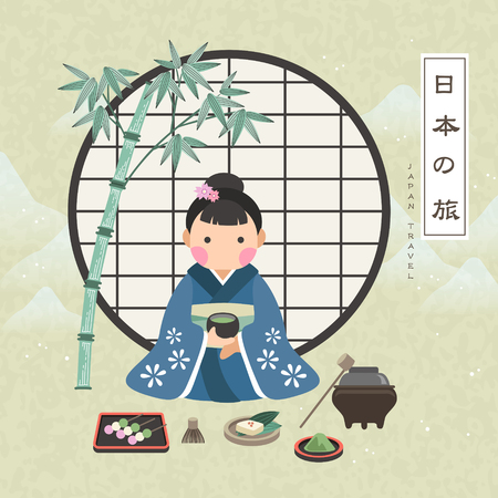 travel japan: attractive Japan travel poster with tea ceremony - Japan Travel in Japanese words