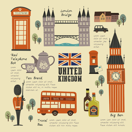 영국 아름다운 여행 개념 컬렉션 집합 벡터 (일러스트)