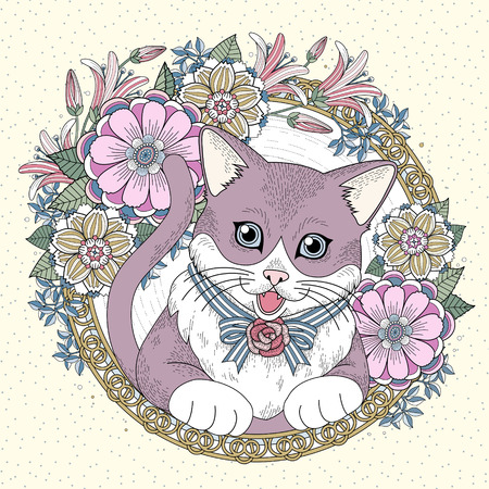 exquisite: adorable kitty coloring page with floral wreath in exquisite line Illustration