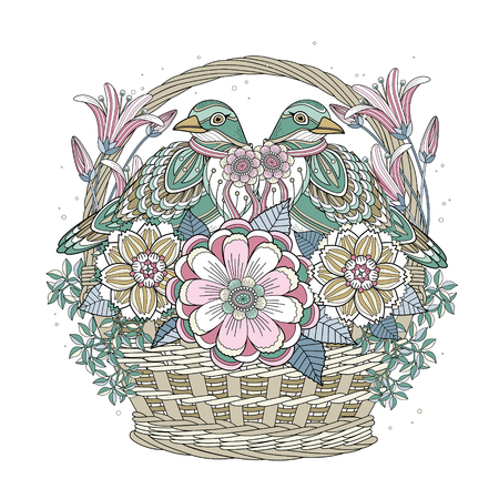 gift basket: blessing bird coloring page with floral elements in exquisite line