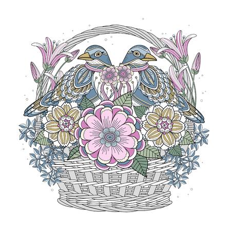 bénédiction Coloriage oiseau avec des éléments floraux en ligne exquise Vecteurs