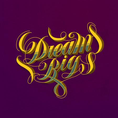 pursue: attractive Dream big calligraphy design over purple background Illustration