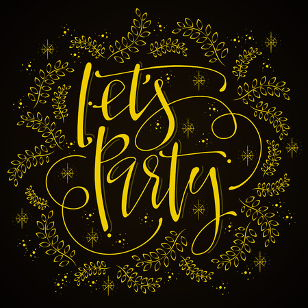 sumptuous: attractive lets party calligraphy design with sumptuous decoration Illustration