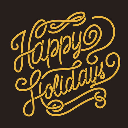 cheer: Happy holidays calligraphy design over black background