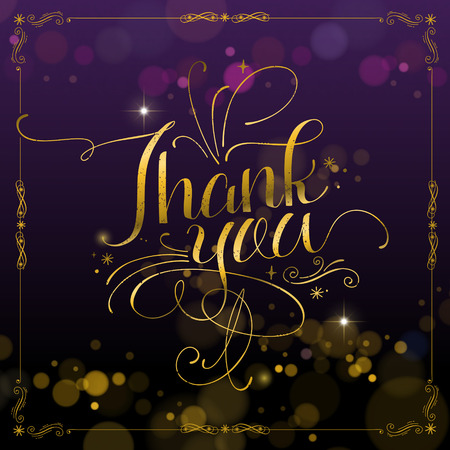 golden color: sumptuous Thank you calligraphy design in golden color
