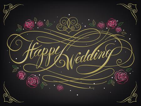 happy wedding: romantic Happy Wedding calligraphy design with roses