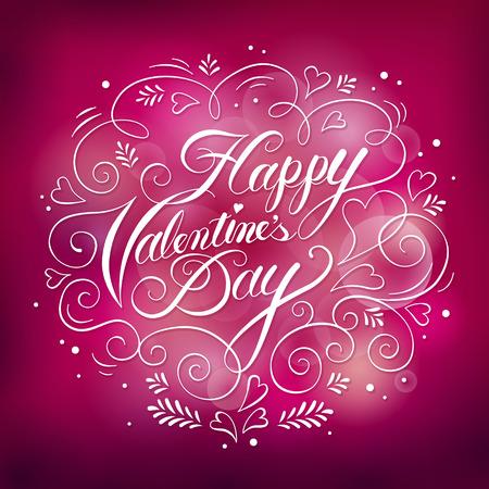 Romantic Happy Valentine\'s Day Calligraphy Design With Roses ...