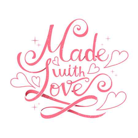 love shape: lovely Made with love calligraphy design with heart shape decoration