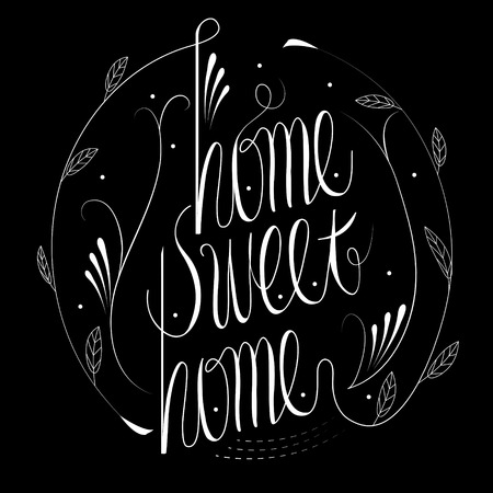homes: attractive home sweet home calligraphy design over black background