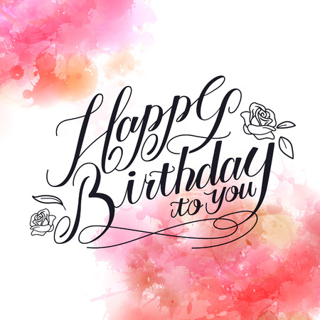 romantic Happy birthday calligraphy design with watercolor background
