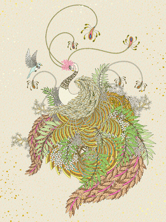 draw: elegant swan coloring page with plants elements