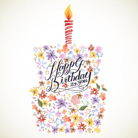 flores de cumpleaños: Diseño del cartel de la caligrafía del feliz cumpleaños preciosa, con elementos florales