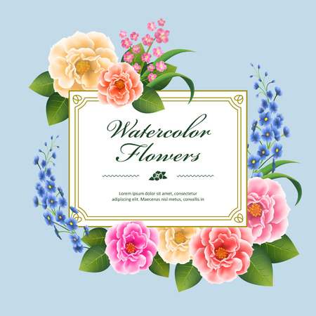colorful frame: attractive peony card template design in watercolor style