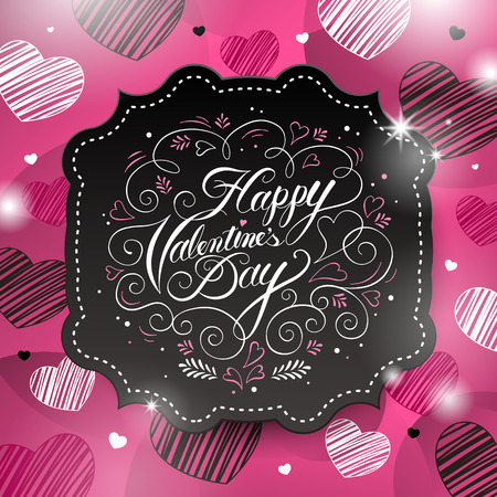 lovely couple: sweet Happy valentines day calligraphy poster design Illustration