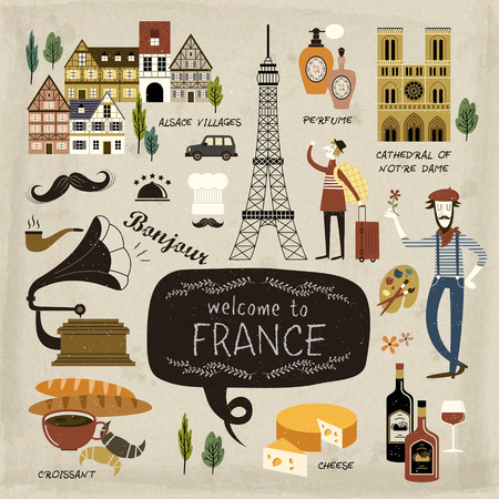 french culture: France travel concept collection in lovely style