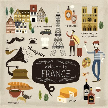 pasteleria francesa: Francia colección concepto de viaje en el estilo encantador Vectores