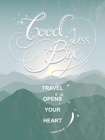 parting: graceful goodbye kiss calligraphy poster design with mountain background Illustration
