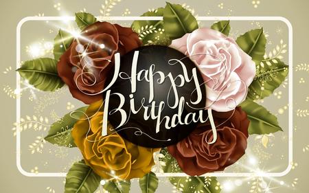 バラの要素を持つ魅力的な幸せな誕生日書道デザインします。