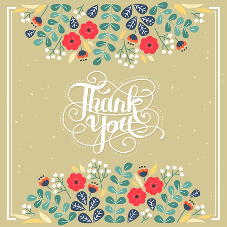 elegant Thank you decorative calligraphy poster design with floral elements