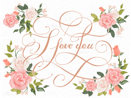 romantic I love you calligraphy design with floral elements Ilustração