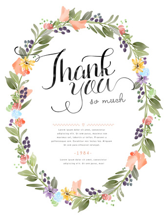 floral elements: elegant Thank you decorative calligraphy poster design with floral elements