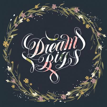 elegant Dream grote kalligrafieontwerp met bloemen Vector Illustratie