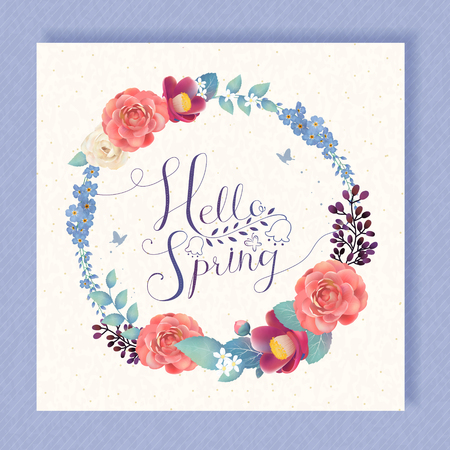 camellia: Hello spring calligraphy design with floral elements