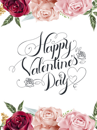 romantische Happy Valentine's day decoratieve kalligrafie posterontwerp