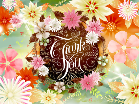 calligraphic: colorful thank you calligraphy design template with floral elements