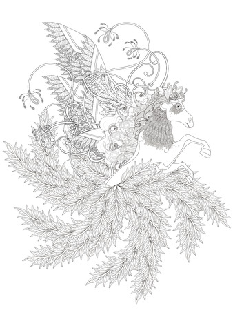 equine: fantastic horse coloring page with floral elements