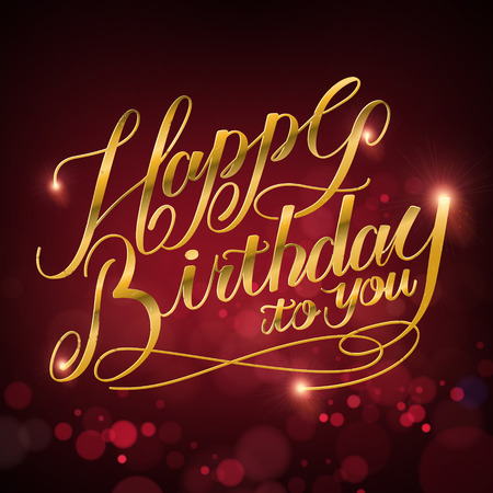 attractive Happy birthday to you calligraphy design over blurred background Illustration