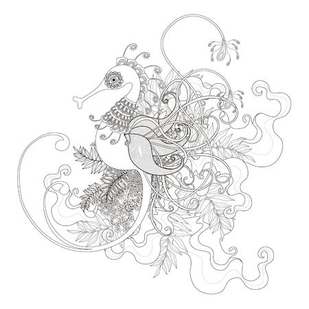 exquisita hipocampo página para colorear con plantas de los elementos