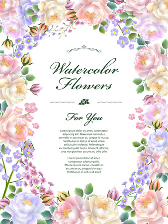 attractive: attractive floral poster template design in watercolor style