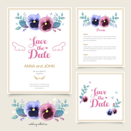 pansy: romantic pansy wedding invitation template design in watercolor style Illustration