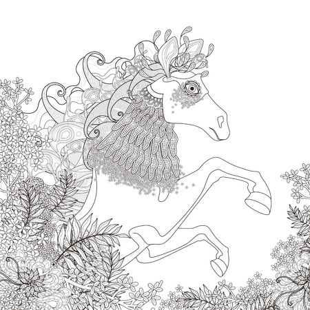 fantastic: fantastic horse coloring page with floral elements