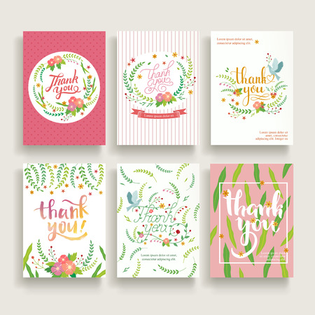 lovely thank you card set design with different calligraphy words