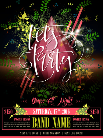 lets party: modern lets party poster and calligraphy design
