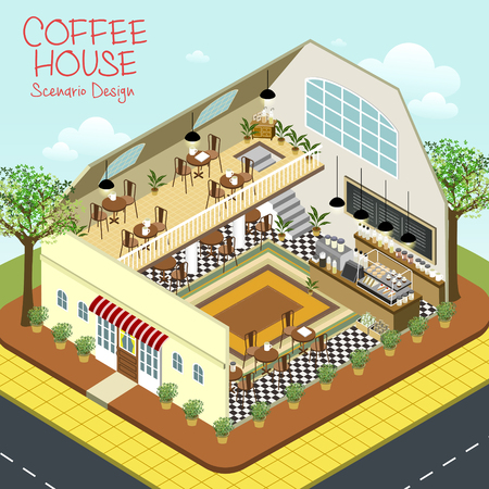toy story: lovely coffee house scenario design in 3d isometric flat style Illustration