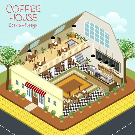 scenario: lovely coffee house scenario design in 3d isometric flat style Illustration