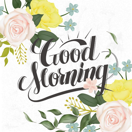 attractive: attractive Good morning calligraphy and poster design with floral elements