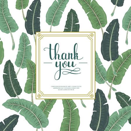 atractiva gracias diseño de la tarjeta con hojas de plátano