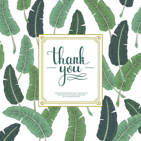 attractive thank you card design with banana leaves