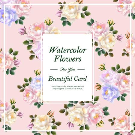 atractivo diseño de plantilla de tarjeta de flores en el estilo de la acuarela