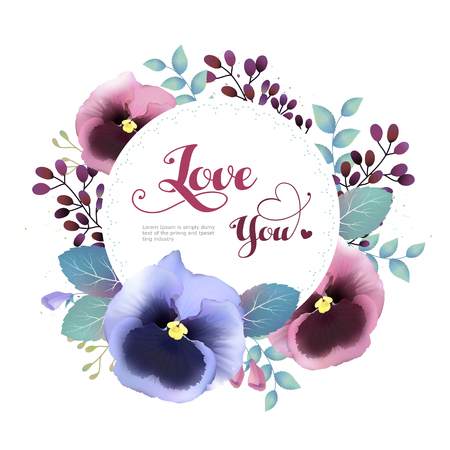 pansy: attractive pansy greeting card template design in watercolor style Illustration