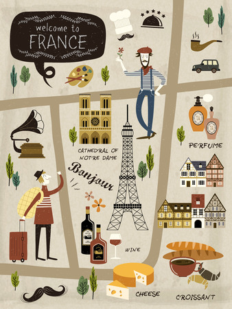 France travel concept illustration map with attractions and Çizim