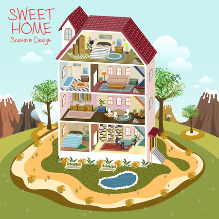 toy story: lovely sweet home scenario design in 3d isometric flat style